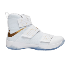 hot sale online dc1e3 2a45a Nike Zoom LeBron Soldier 10  Gold Swoosh