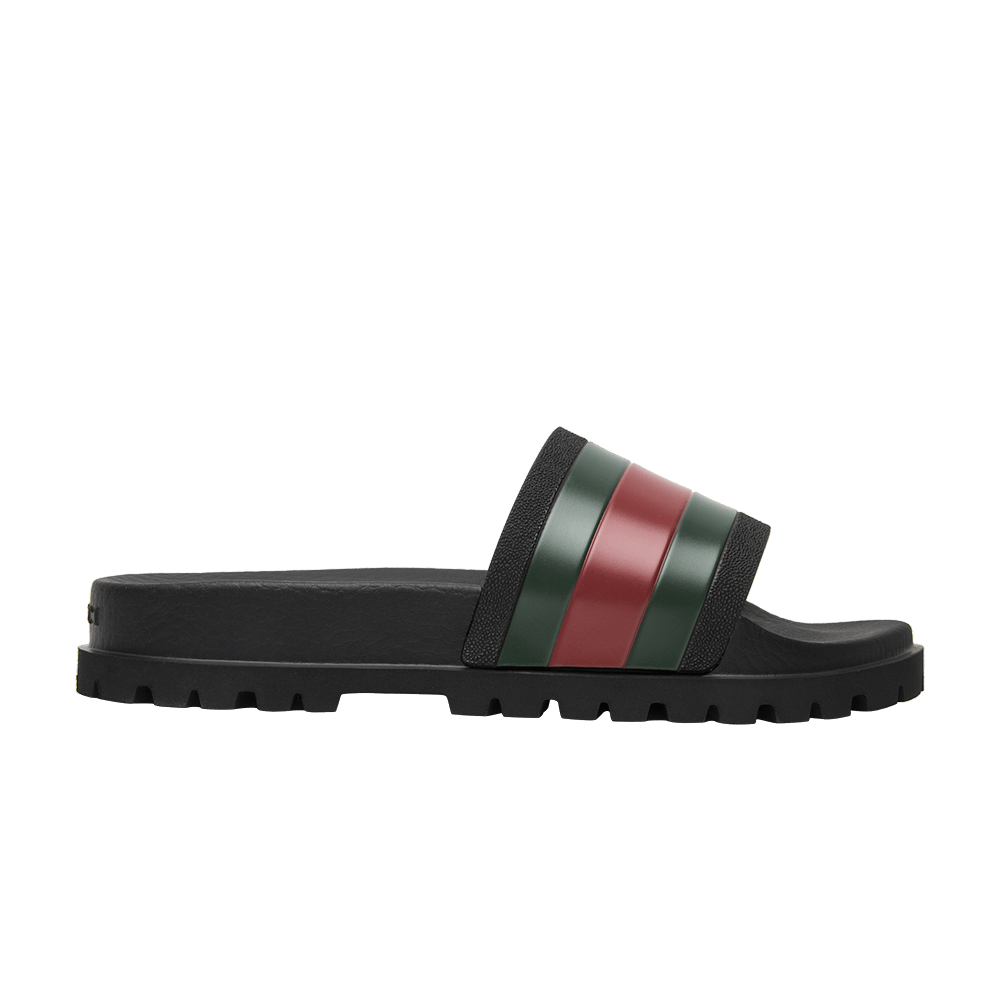 29eef258d38 Gucci Web Slide Black Gucci 429469 Gib10 1098 Goat · Blue Bloom Print  Flower Slide Sandals Us Shoes ...
