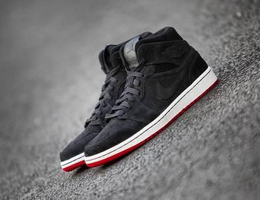 86c26e6cd697 Air Jordan 1 Mid Nouveau  Black Red  - Air Jordan - 629151 001