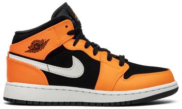 9d3b3f7a2f07 Air Jordan 1 Retro Mid GS  Orange Black  - Air Jordan - 554725 062 ...