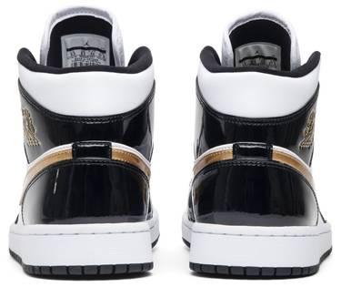 fff4216b3b7 Air Jordan 1 Mid Patent  Black Gold  - Air Jordan - 852542 007