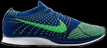 468ec098c9ad Flyknit Racer  Brave Blue Poison Green  - Nike - 526628 403