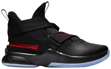 new product 17ec2 71b03 LeBron Soldier 12 FlyEase 'Black Red'