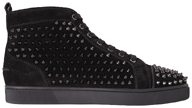half price cheap on feet images of Christian Louboutin Louis Flat Calf Spikes 'Black'