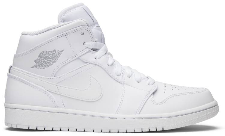 Air Jordan 1 Retro Mid 'Triple White' - Air Jordan - 554724 104 | GOAT