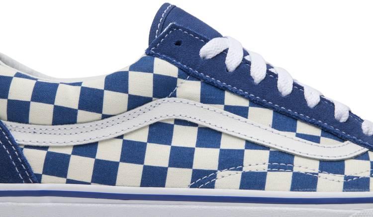 vans old skool checkered blue