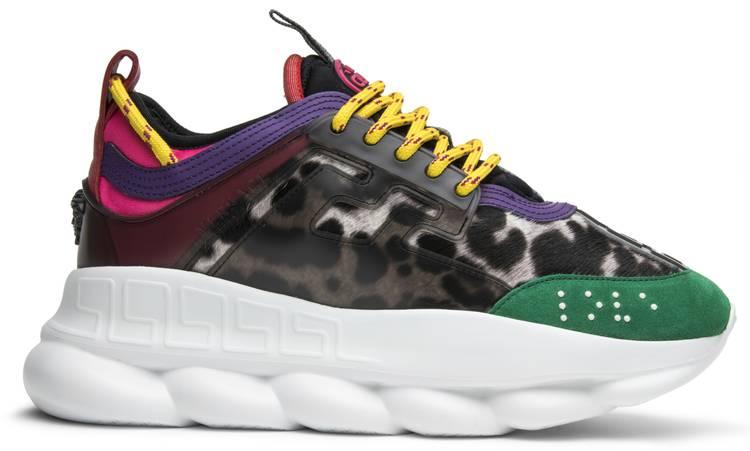 Versace Multicolor Animalier Chain Reaction Sneakers e0uTJLf