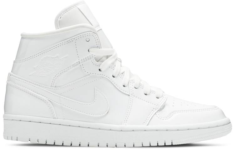 Wmns Air Jordan 1 Mid Patent 'Triple White'