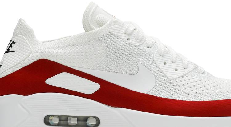 Air Max 90 Ultra 2.0 Flyknit 'White Red' - Nike - 875943 102 | GOAT