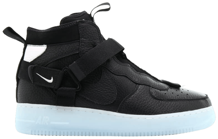 Air Force 1 Mid Utility Black Half Blue Nike Aq9758 001 Goat