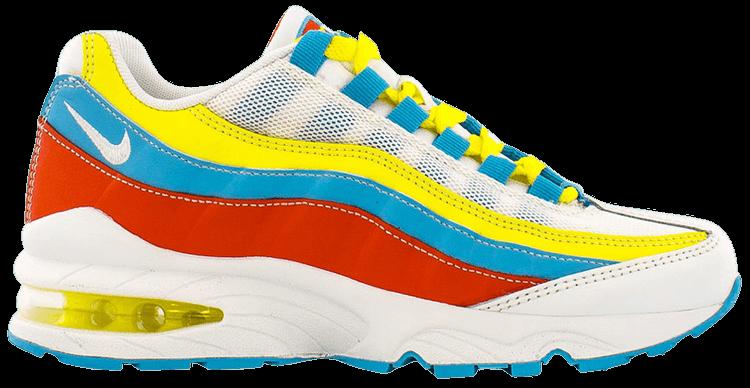 Air Max 95 Gs White Blue Fury Opti Yellow Nike Ck0055 400 Goat