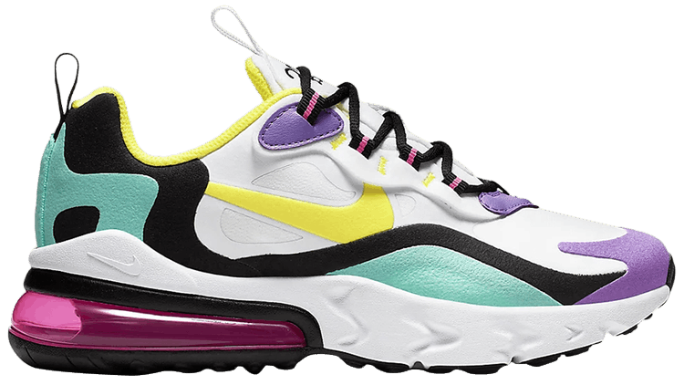Air Max 270 React Gs Bright Violet Nike Bq0103 101 Goat